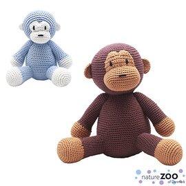 丹麥 natureZOO 丹麥動物園 竹纖維手工編織布偶(小) 猴子(藍猴/棕猴)★愛兒麗婦幼用品★