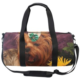 大容量 2WAY ショルダーバッグ レディース犬ヨークシャーテリアの顔の花のあくび
