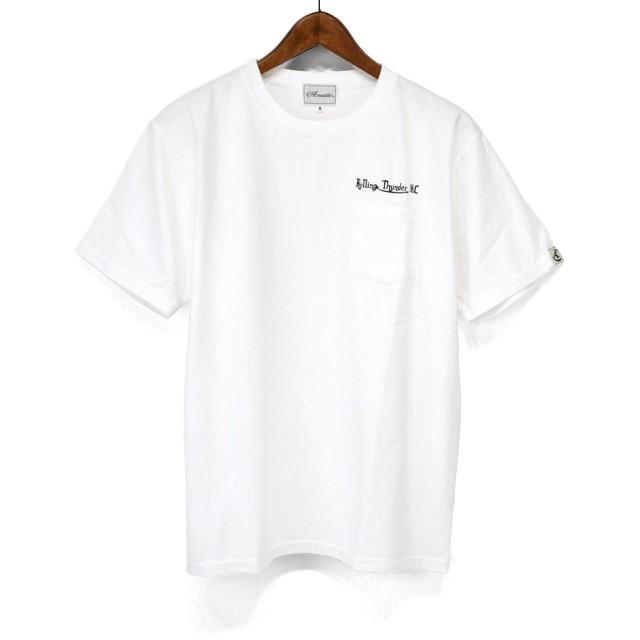 アコースティック(Acoustic) Tシャツ AC8012 Rolling Thunder MC Logo ロゴプリント S/STEE ポケT (ホワイト, L)