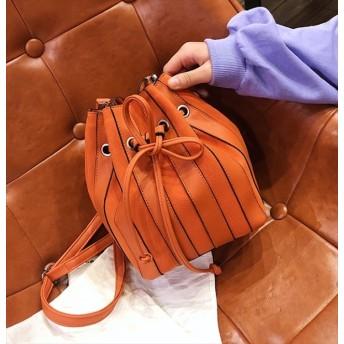 ストライプスエード巾着バッグ ショルダーバッグ レザー スエード 大人 韓国ファッション シンプル