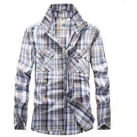 (ティーエヌケーカンパニー) Tnk&Co. メンズ (2色選択) チェック柄 長袖シャツ #A316 (M, ブルー)