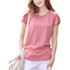 [もうほうきょう] レディース tシャツ 半袖 Tシャツ 春 夏 薄手 ラウンドネック 花びらスリーブ 無地 大きいサイズ M~5XL (ピンク, M)