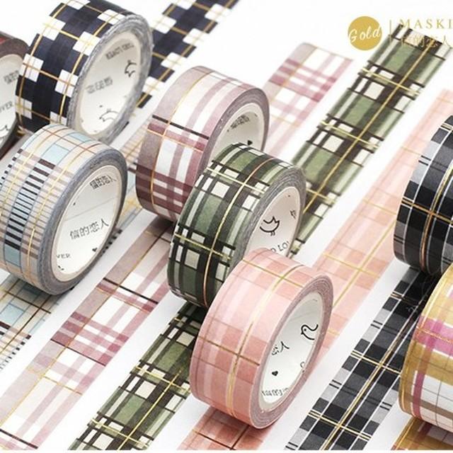 【2個セット】マスキングテープ チェック柄×金箔ライン 8種類 海外製 15mm×5m