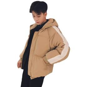 (ニカ)メンズ ダウンジャケット 厚手 冬 暖かい 中綿コート アウター 無地 ペアルック ダウンコート ゆったり オーバーサイズ ブルゾン ジャケット 韓国風アンズの色T2