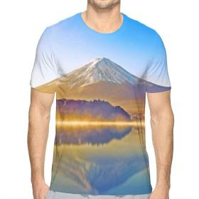 TradingCo 大人 メンズ 半袖Tシャツ 山 富士山 湖 太陽光 Oネック ティー Tシャツ シャツ 通勤 通学 普段着 M