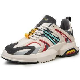 [Yikaifei] 厚底シューズ メンズ スポーティスニーカー 厚底靴 ウオーキングシューズ ジム靴 男性用 トラベル レザー メッシュ レースアップ 散歩 日常着用 ベージュ 27.0cm