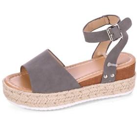 VITryst 女性足首ストラップ夏靴ウェッジオープントーエスパドリーユサンダル Grey 41