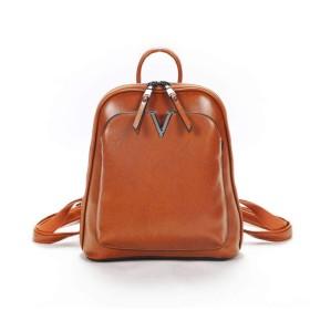 新しいファッションガールズデイパックPUレザーショルダーバッグショルダートラベルバックパックスクールバッグ (Color : Brown, Size : 271218cm)