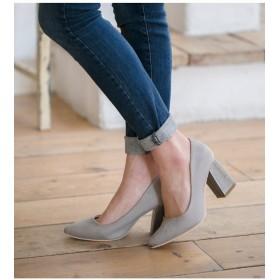 パンプス - AmiAmi ポインテッドトゥチャンキーヒールパンプス太ヒール とんがり ポインテッド 異素材 バイカラー 美脚 黒 シューズ 靴