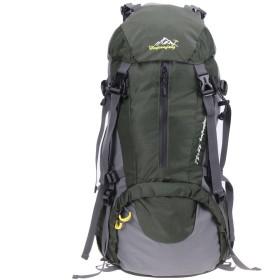 k-outdoor バックパック アウトドア 50L 大容量 防水 キャンプ 登山用バッグ 防水 ナイロン 防水カバー 防雨カバー付き アーミーグリーン