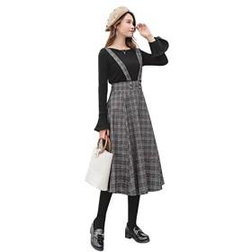 レディース 長袖トップス+スカートのセット ベルスリーブトップス グレンチェックスカート ブラック ネービー LL 3L 4L 5L 6L 大きいサイズ (6L, 黒)