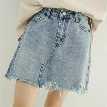 デニムスカート ミニスカート Aラインスカート 大人可愛い 台形 美脚効果 春新作