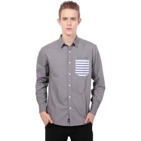 メンズ カジュアルシャツ パッチワーク ポプリン スプライス 長袖 ワイシャツ ビジネス RF-1(S,8)