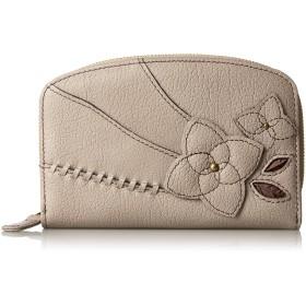 [エスノ] 二つ折財布 コラージュ 本革製 多収納 ベージュ