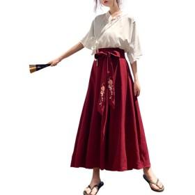 [Yangelo] セットアップ  2点 スカート+ブラウス 上下 可愛い 着痩せ ファッション ロングスカート ベルト リボン ハイウエスト Aライン 森ガール トップス 半袖 無地 カジュアル フリーサイズ 2点セット