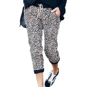 YACUN 女性レオパードカジュアルパンツ高ウエスト巾着ジョガーレギンス