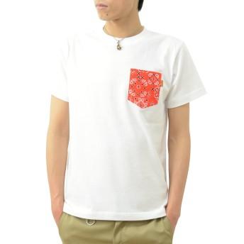 (ジーンズバグ)JEANSBUG 半袖 バンダナ ポケット Tシャツ オリジナル 本革 タブ ポケT 無地 メンズ レディース 大きいサイズ PKST-BANDA XL シロ×アカ(12)
