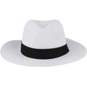 C-Princess ペーパーハット 麦わら帽子 ストローハット パナマ帽 中折れハット 紳士帽 メンズ レディース リボン付き 日よけ UVカット アウトドア ホワイト