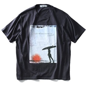 DANIEL DODD スラブフォトプリント半袖Tシャツ(CATCH THE WIND) azt-180294 大きいサイズ メンズ【915.チャコールグレー-5L】