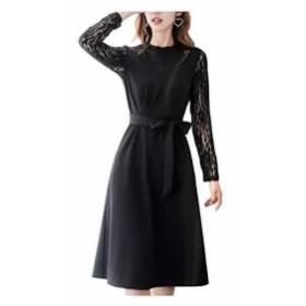 AN19 BK S フォーマル ワンピース 黒 ドレス aライン ドレスワンピース パーティ(ブラック, 01. S)