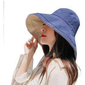 DENUSEN 帽子 レディース UVカット ハット 紫外線対策 日焼け防止熱中症予防 取り外すあご紐 つば広 おしゃれ 可愛い 夏季 旅行 自転車 農作業 ブルー
