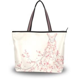 AOMOKI トートバッグ ハンドバッグ バッグ レディース 肩掛け 大容量 通勤通学 旅行 おしゃれ ギフト プレゼント 花柄 花嫁 ピンク 桜