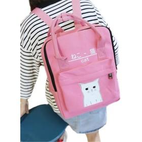 JIANGWEI レディース 女の子 バッグ リュック ショルダー 4way 猫柄付き 軽量 通勤 通学 かわいい 大きいサイズ ピンクF