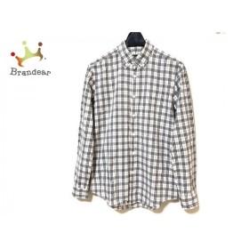 バーバリーブラックレーベル 長袖シャツ サイズ1 S メンズ 白×グレー×ダークグレー チェック柄 新着 20190719