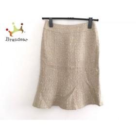 マテリア MATERIA スカート サイズ36 S レディース 美品 ベージュ×アイボリー ツイード/ラメ 新着 20190719