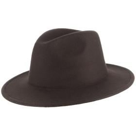GEMVIE メンズ 帽子 フェルトハット 中折れハット 礼帽 無地 アウトドア 旅行 つば広 紳士帽 フォーマル ソフトハット カジュアル コーヒー色