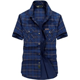 SemiAugust(セミオーガスト)アウトドア ミリタリーシャツ 半袖 カジュアル コットン スタイリッシュ チェック 柄 ワイシャツ ファッション メンズ(blue M)