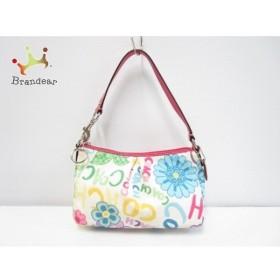 コーチ COACH ハンドバッグ - - 白×ピンク×マルチ ナイロン×エナメル(レザー)  値下げ 20191007