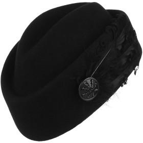 Y-BOAトーク帽 礼装帽子 カクテルハット ヘッドドレス ベレー帽 画家帽 ウール 帽子 羽根飾り レディース 欧風 パーティー ウェディング 結婚式 披露宴 ブラック