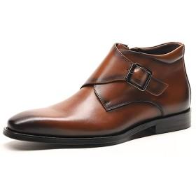 [ウェッション] メンズ ビジネスシューズ 紳士靴 革靴 本革 メンズ モンクストラップ ハイカット 男性 面接 通勤 出張 2カラー 23.5cm~27.0cm(コーヒー、24.5cm)