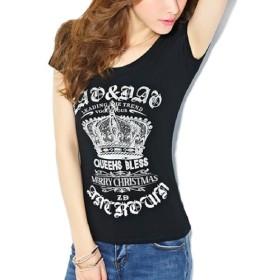 Heaven Days(ヘブンデイズ) ラインストーン Tシャツ 半袖 カットソー キラキラ ロゴT クラウン 王冠 クルーネック レディース 1805B0115