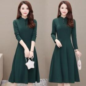 ワンピース ドレス 大人 きれいめ 大きいサイズ ひざ下丈 長袖 袖あり 30代 40代 緑 赤 黒 ブラック 韓国 ワンピース ワンピース ドレス