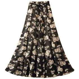 レディース 夏 シフォン ハイウエストスカート 中長セクション ボヘミア ロングスカート ビーチスカート 旅行する 休暇 印刷 シフォンスカート 花柄ドレス Aラインスカート 妖精のスカート (80cm, A)