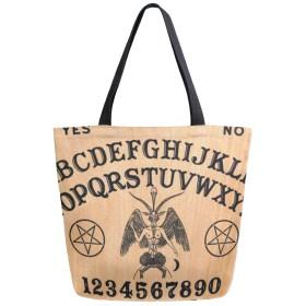 トートバッグ 面白い占い板 英字 キャンバスバッグ レディース 大容量 2way 帆布 サブバッグ 多機能バッグ