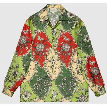 オーバーサイズ プリント シルク ボウリングシャツ