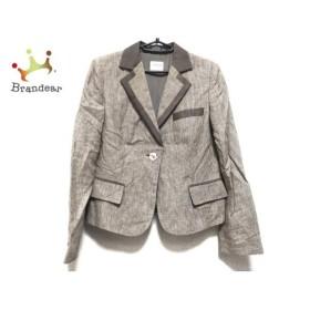 アルマーニコレッツォーニ ジャケット サイズ42 M レディース 美品 ベージュ×アイボリー 新着 20190719