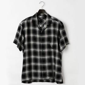 (コムサ イズム) COMME CA ISM オンブレー チェック オープンカラー シャツ 47-31II01-108 M ブラック