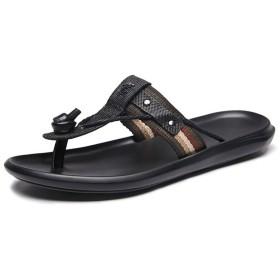 ビーチサンダル メンズ スリッパサンダル かっこいい リゾート 軽量 防臭性 紳士用 メンズ ブラック お洒落 歩きやすい 滑り止め 快適 コンフォート 柔らかい 夏靴 黒い 26.5cm
