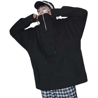 (ニカ) メンズ ファッション 韓国風 アウター メンズ スウェット メンズ フードパーカ スウェット メンズ トップス アウター ジャケット ジャンパー おしゃれ 春 秋 レジャー カジュアル ブルゾンブラックT2