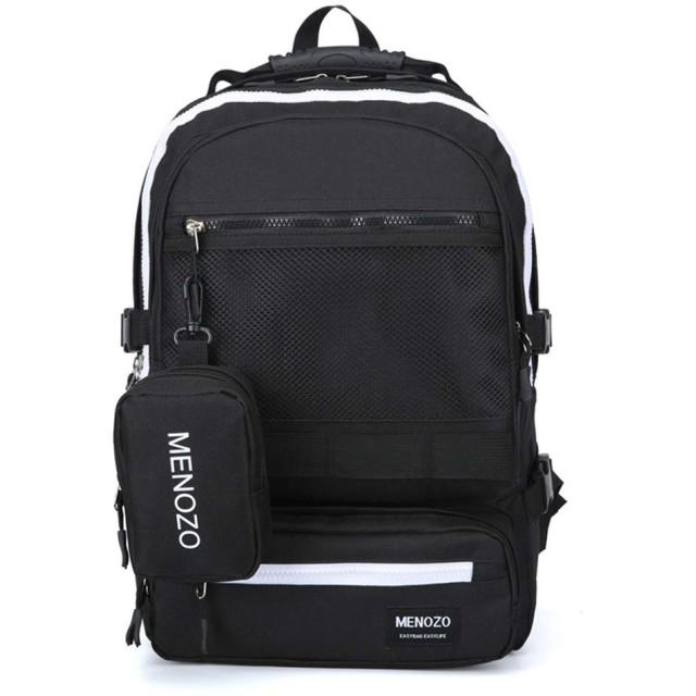 Menozo M668 ズック 大容量 高校生 リュックサック 通勤 レディース 通学 リュック メンズ バックパック (ブラック)