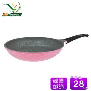 PERFECT 理想韓國晶鑽不沾平底鍋28cm粉紅(無蓋)~韓國製造