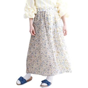 (メルロー) merlot フラワー柄バイカラープリーツスカート1484 868135001484 FREE ホワイト