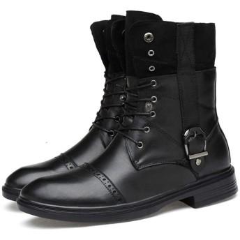 [スター イー ビズネス] ロングブーツ メンズ 黒 大きいサイズ 長靴 ミドル丈 2WAY 四季 レースアップ サイドバックル イングランド風 エレガント ブローグ マーティンブーツ ハイカット 防滑 b系 個性的 お兄系 柔らかい 黒い 26.5cm