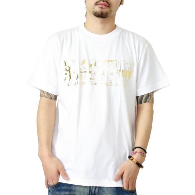 (ブラクトン)BLACKTON GOLD NISHOU TEE/日章ゴールド箔柄・半袖Tシャツ M WHITE