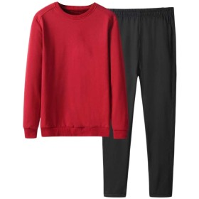 Romancly メンズフリースツーピースは、プルオーバースポーツのスウィッチは、ジョギングセット Red XL