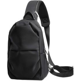 ZZINNA ボディバッグ メンズ ワンショルダーバッグ おしゃれ 軽量 通勤 通学 斜めがけバッグ ipad ナイロン ブラック